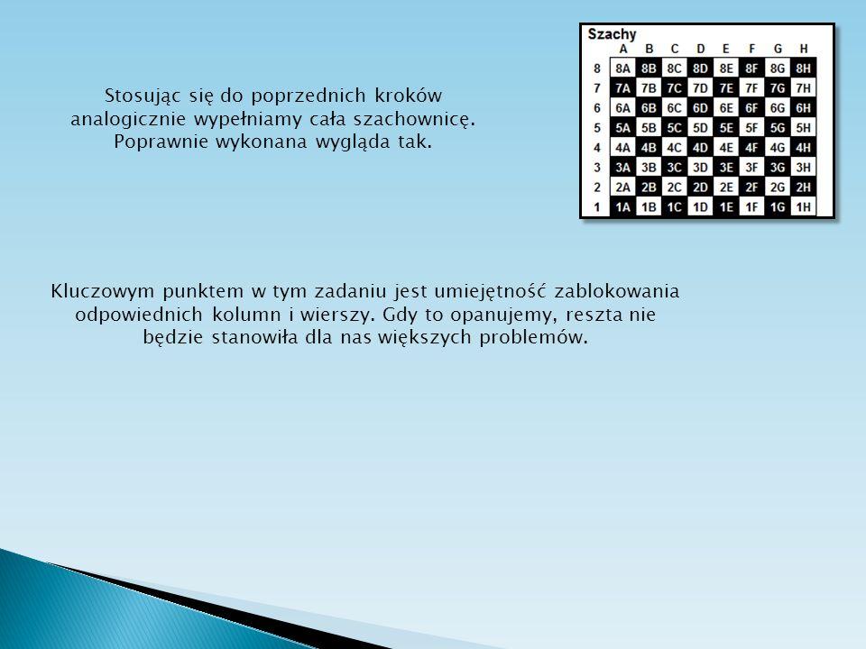 Stosując się do poprzednich kroków analogicznie wypełniamy cała szachownicę. Poprawnie wykonana wygląda tak. Kluczowym punktem w tym zadaniu jest umie