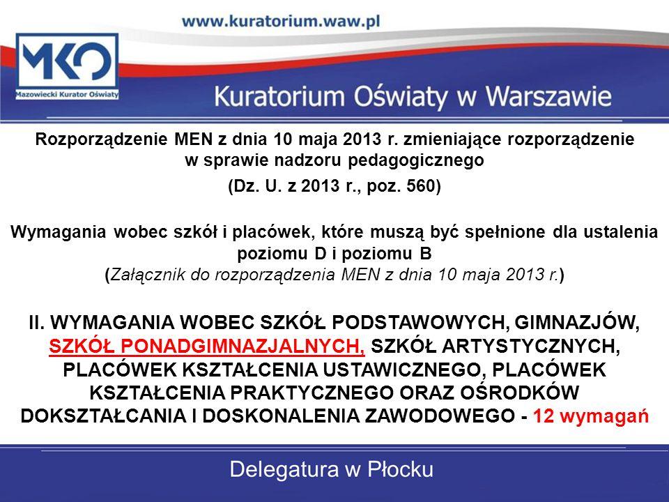 Rozporządzenie MEN z dnia 10 maja 2013 r. zmieniające rozporządzenie w sprawie nadzoru pedagogicznego (Dz. U. z 2013 r., poz. 560) Wymagania wobec szk