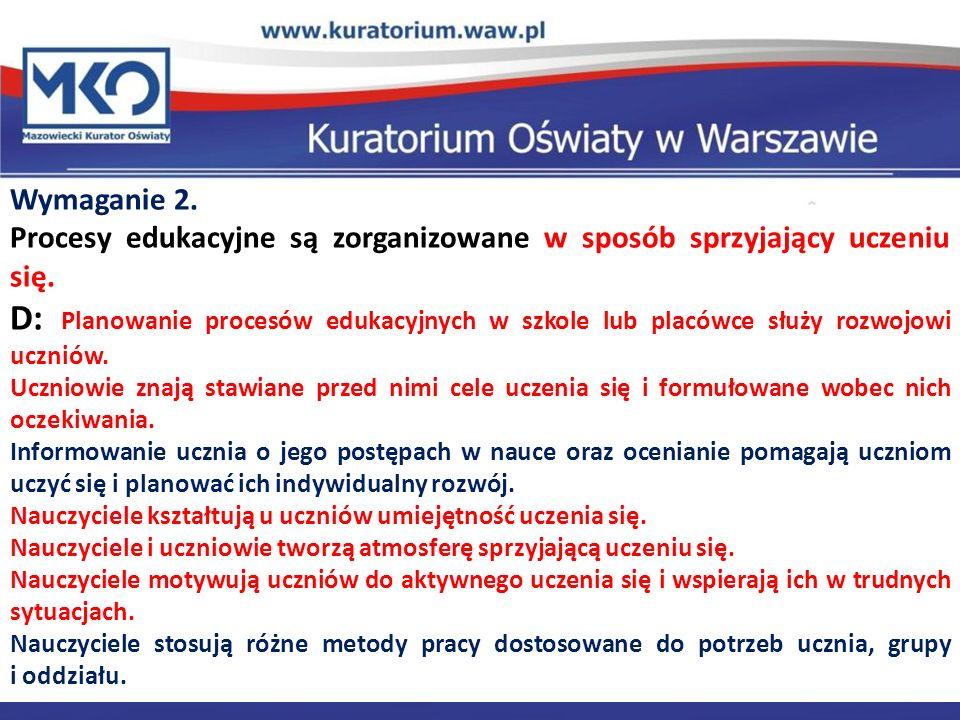 Delegatura w Płocku Wymaganie 2. Procesy edukacyjne są zorganizowane w sposób sprzyjający uczeniu się. D: Planowanie procesów edukacyjnych w szkole lu