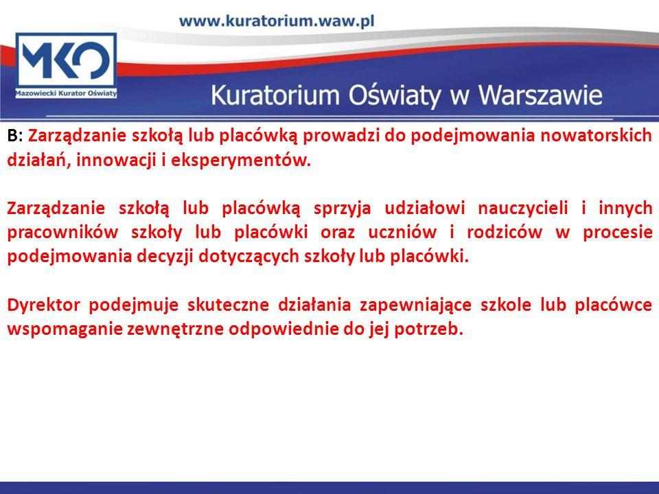 Delegatura w Płocku B: Zarządzanie szkołą lub placówką prowadzi do podejmowania nowatorskich działań, innowacji i eksperymentów. Zarządzanie szkołą lu