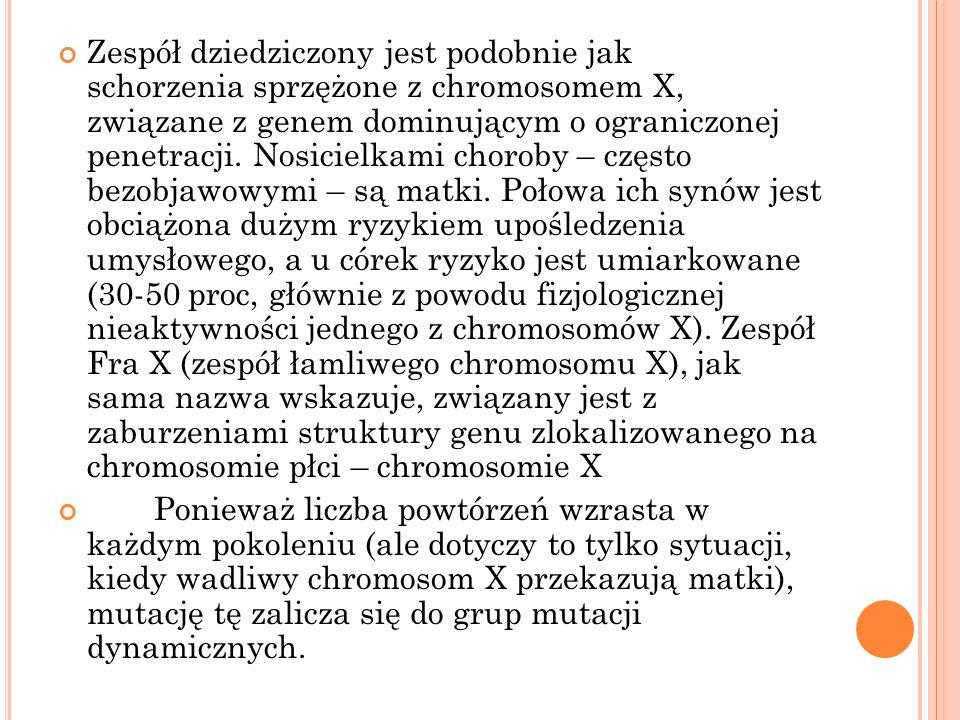 Zespół dziedziczony jest podobnie jak schorzenia sprzężone z chromosomem X, związane z genem dominującym o ograniczonej penetracji. Nosicielkami choro