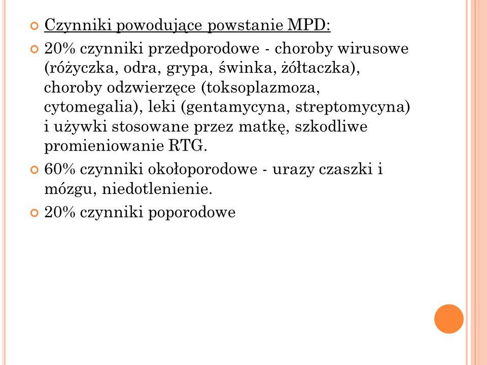 Czynniki powodujące powstanie MPD: 20% czynniki przedporodowe - choroby wirusowe (różyczka, odra, grypa, świnka, żółtaczka), choroby odzwierzęce (toks