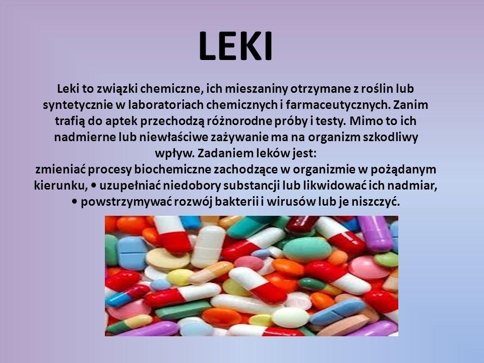Leki to związki chemiczne, ich mieszaniny otrzymane z roślin lub syntetycznie w laboratoriach chemicznych i farmaceutycznych. Zanim trafią do aptek pr