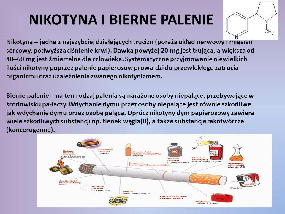 NIKOTYNA I BIERNE PALENIE Nikotyna – jedna z najszybciej działających trucizn (poraża układ nerwowy i mięsień sercowy, podwyższa ciśnienie krwi). Dawk