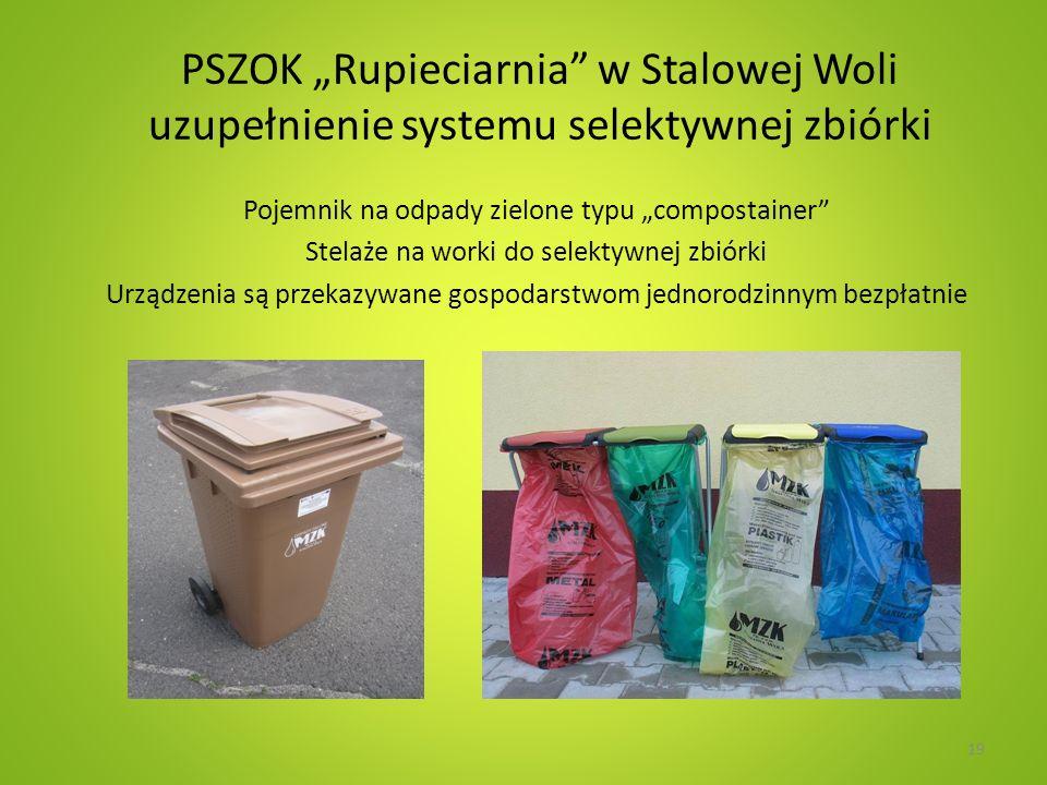 PSZOK Rupieciarnia w Stalowej Woli uzupełnienie systemu selektywnej zbiórki Pojemnik na odpady zielone typu compostainer Stelaże na worki do selektywnej zbiórki Urządzenia są przekazywane gospodarstwom jednorodzinnym bezpłatnie 19