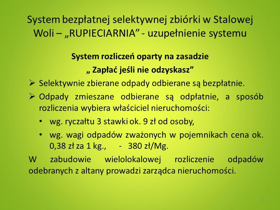 System bezpłatnej selektywnej zbiórki w Stalowej Woli – RUPIECIARNIA - uzupełnienie systemu System rozliczeń oparty na zasadzie Zapłać jeśli nie odzyskasz Selektywnie zbierane odpady odbierane są bezpłatnie.