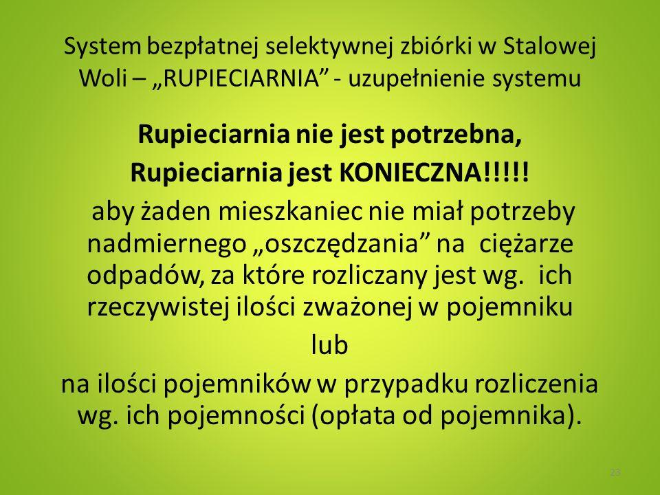 System bezpłatnej selektywnej zbiórki w Stalowej Woli – RUPIECIARNIA - uzupełnienie systemu Rupieciarnia nie jest potrzebna, Rupieciarnia jest KONIECZ