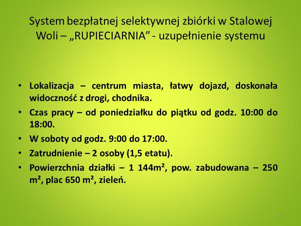 System bezpłatnej selektywnej zbiórki w Stalowej Woli – RUPIECIARNIA - uzupełnienie systemu Lokalizacja – centrum miasta, łatwy dojazd, doskonała widoczność z drogi, chodnika.