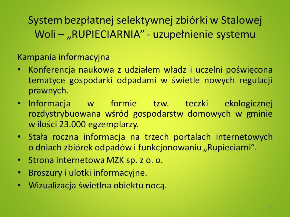 System bezpłatnej selektywnej zbiórki w Stalowej Woli – RUPIECIARNIA - uzupełnienie systemu Kampania informacyjna Konferencja naukowa z udziałem władz