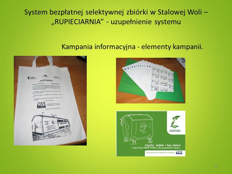 System bezpłatnej selektywnej zbiórki w Stalowej Woli – RUPIECIARNIA - uzupełnienie systemu Kampania informacyjna - elementy kampanii. 34