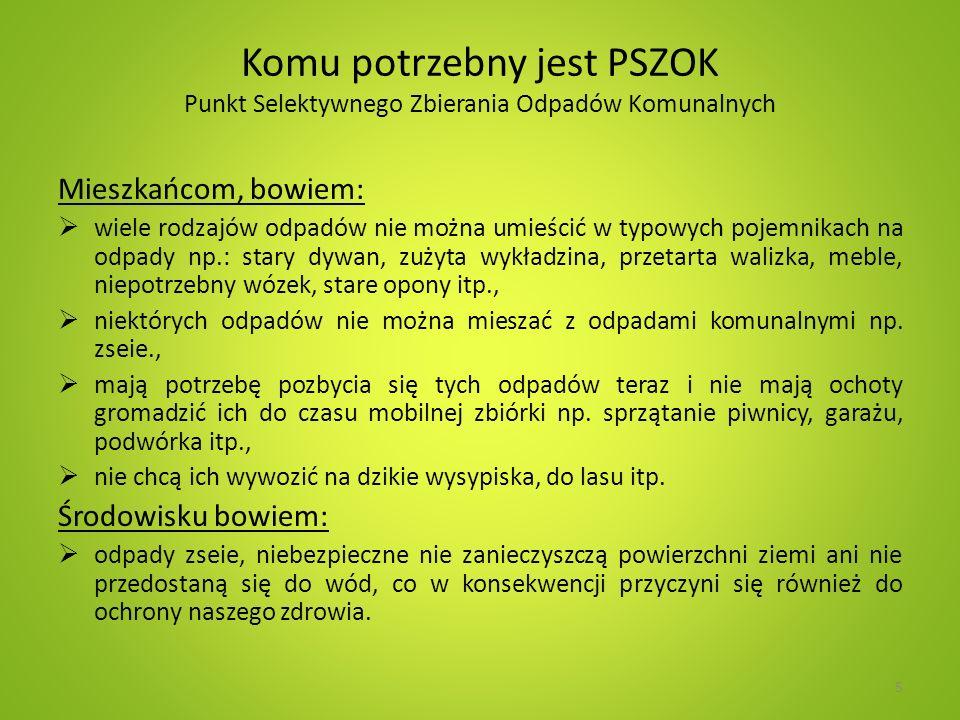 Tworzenie PSZOK Wymagania prawne Zgodność z Miejscowym Planem Zagospodarowania Przestrzennego lub decyzją o warunkach zabudowy i zagospodarowania terenu (gdy nie ma MPZP).