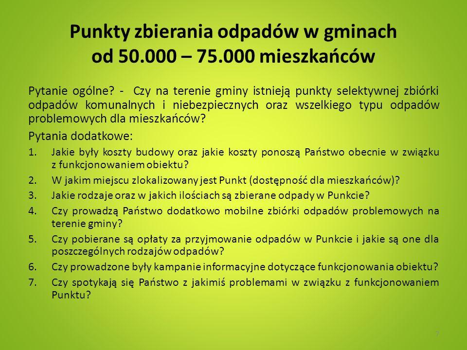 Punkty zbierania odpadów w gminach od 50.000 – 75.000 mieszkańców Pytanie ogólne? - Czy na terenie gminy istnieją punkty selektywnej zbiórki odpadów k