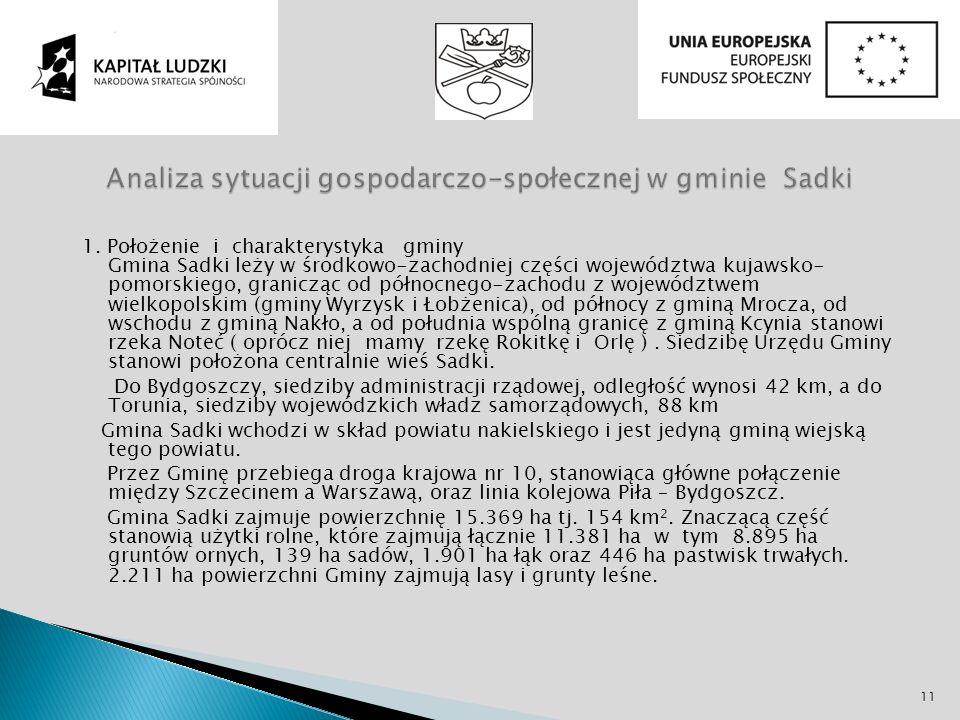 1. Położenie i charakterystyka gminy Gmina Sadki leży w środkowo-zachodniej części województwa kujawsko- pomorskiego, granicząc od północnego-zachodu