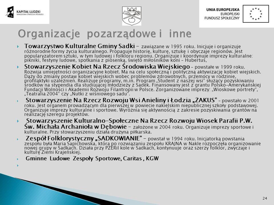 Towarzystwo Kulturalne Gminy Sadki - zawiązane w 1995 roku. Inicjuje i organizuje różnorodne formy życia kulturalnego. Propaguje historię, kulturę, sz