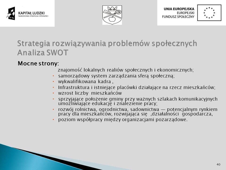 Mocne strony: znajomość lokalnych realiów społecznych i ekonomicznych; samorządowy system zarządzania sferą społeczną; wykwalifikowana kadra, Infrastr