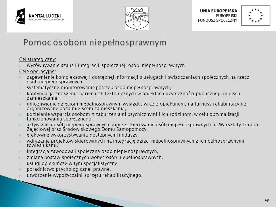Cel strategiczny: Wyrównywanie szans i integracji społecznej osób niepełnosprawnych Cele operacyjne: zapewnienie kompleksowej i dostępnej informacji o