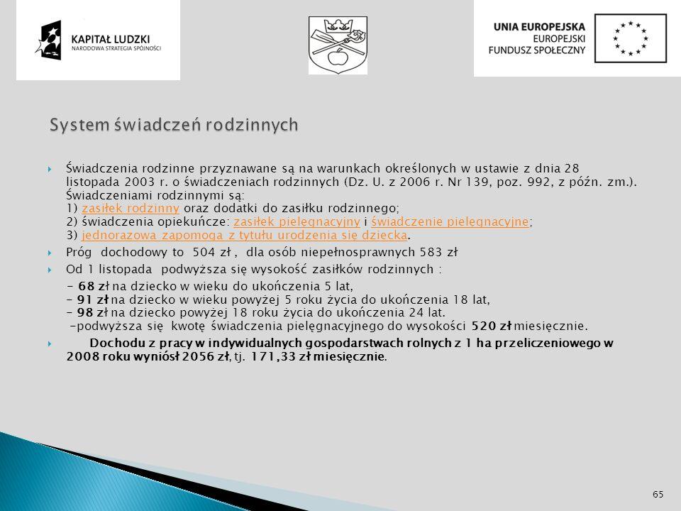 Świadczenia rodzinne przyznawane są na warunkach określonych w ustawie z dnia 28 listopada 2003 r. o świadczeniach rodzinnych (Dz. U. z 2006 r. Nr 139