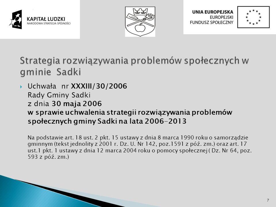 Uchwała nr XXXIII/30/2006 Rady Gminy Sadki z dnia 30 maja 2006 w sprawie uchwalenia strategii rozwiązywania problemów społecznych gminy Sadki na lata