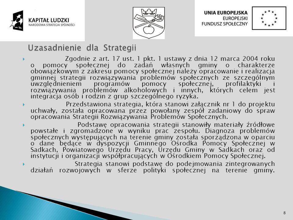 Zgodnie z art. 17 ust. 1 pkt. 1 ustawy z dnia 12 marca 2004 roku o pomocy społecznej do zadań własnych gminy o charakterze obowiązkowym z zakresu pomo