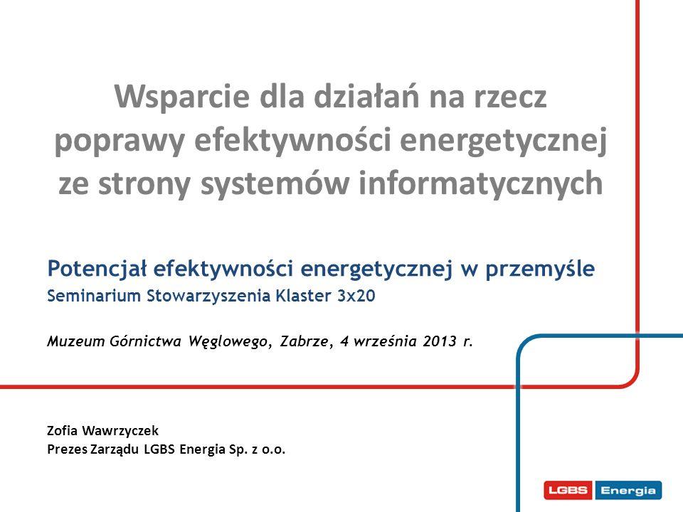 Wsparcie dla działań na rzecz poprawy efektywności energetycznej ze strony systemów informatycznych Potencjał efektywności energetycznej w przemyśle S