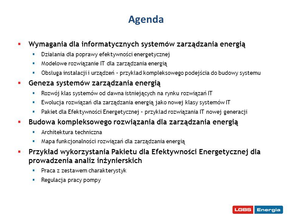Wymagania dla systemów zarządzania energią Źródła wymagań - działania dla poprawy efektywności energetycznej Inwestycje Eksploatacja Organizacja Jakie powinno być modelowe rozwiązanie IT dla zarządzania energią.