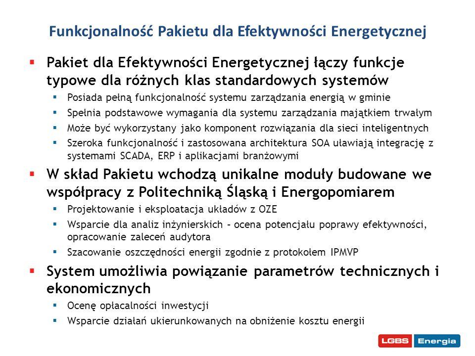 Funkcjonalność Pakietu dla Efektywności Energetycznej Pakiet dla Efektywności Energetycznej łączy funkcje typowe dla różnych klas standardowych system