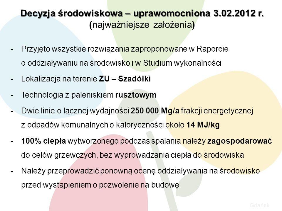 Gdańsk Decyzja środowiskowa – uprawomocniona 3.02.2012 r.