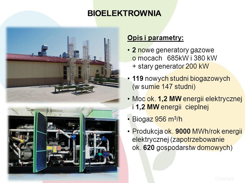 Gdańsk BIOELEKTROWNIA 10 Opis i parametry: 2 nowe generatory gazowe o mocach 685kW i 380 kW + stary generator 200 kW 119 nowych studni biogazowych (w sumie 147 studni) Moc ok.