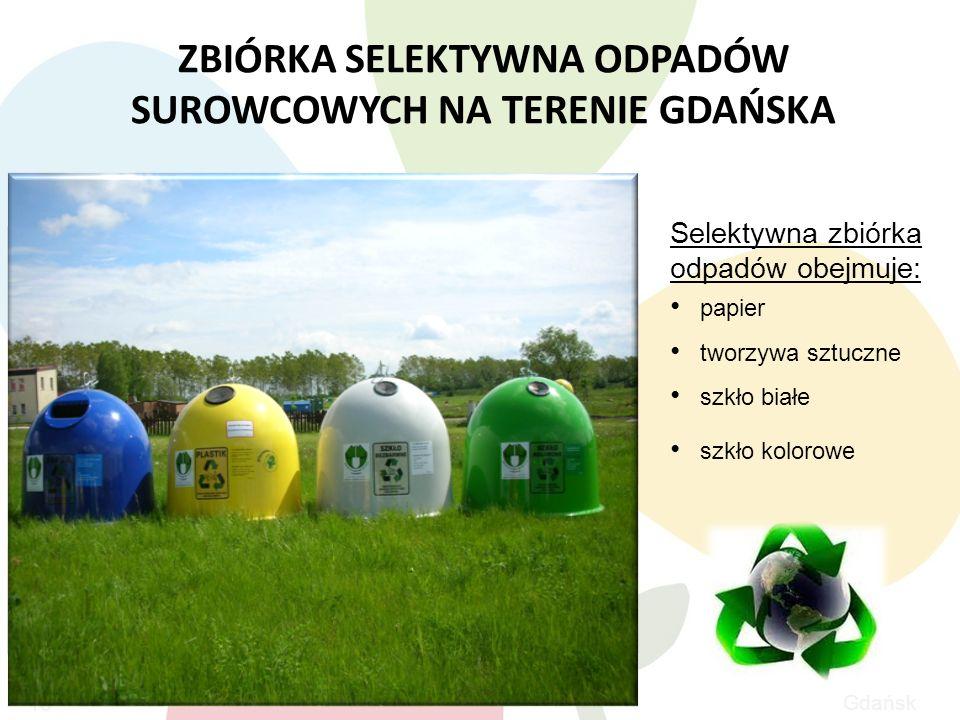 Gdańsk ZBIÓRKA SELEKTYWNA ODPADÓW SUROWCOWYCH NA TERENIE GDAŃSKA 16 Selektywna zbiórka odpadów obejmuje: papier tworzywa sztuczne szkło białe szkło kolorowe