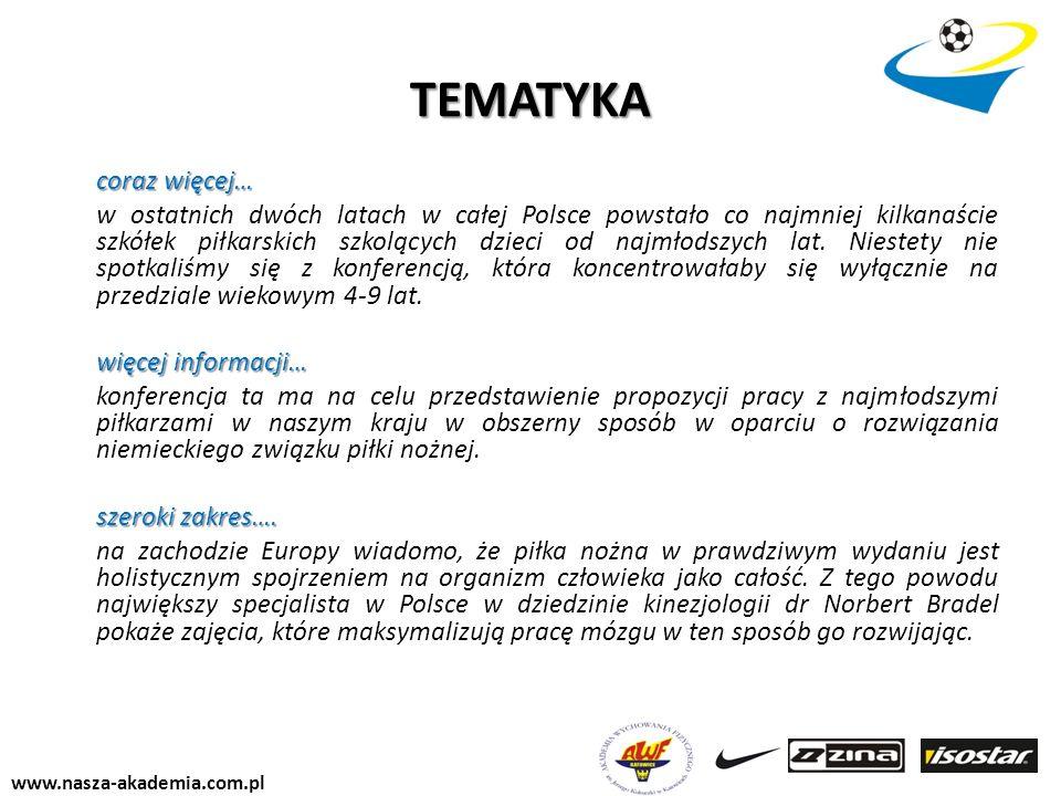 www.nasza-akademia.com.pl TEMATYKA coraz więcej… w ostatnich dwóch latach w całej Polsce powstało co najmniej kilkanaście szkółek piłkarskich szkolący