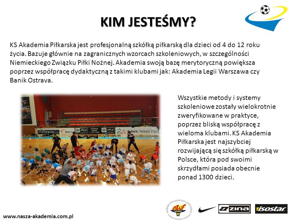 www.nasza-akademia.com.pl KS Akademia Piłkarska jest profesjonalną szkółką piłkarską dla dzieci od 4 do 12 roku życia. Bazuje głównie na zagranicznych