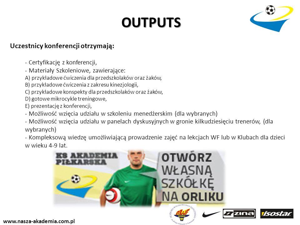 www.nasza-akademia.com.pl Uczestnicy konferencji otrzymają: - Certyfikację z konferencji, - Materiały Szkoleniowe, zawierające: A) przykładowe ćwiczen