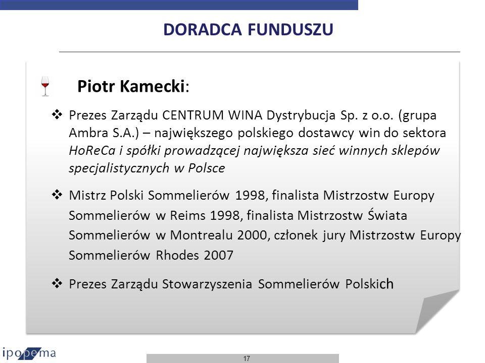 17 Piotr Kamecki: Prezes Zarządu CENTRUM WINA Dystrybucja Sp. z o.o. (grupa Ambra S.A.) – największego polskiego dostawcy win do sektora HoReCa i spół