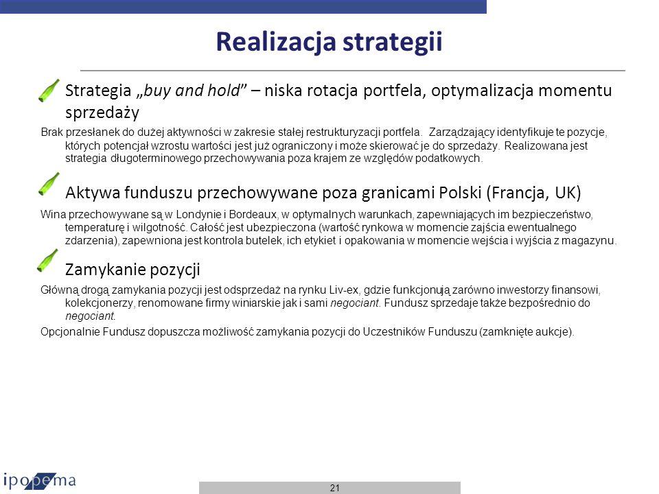 21 Realizacja strategii Strategia buy and hold – niska rotacja portfela, optymalizacja momentu sprzedaży Brak przesłanek do dużej aktywności w zakresi