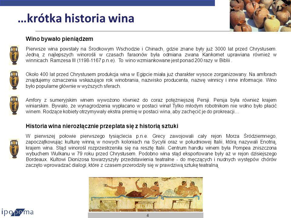 4 …krótka historia wina Wino bywało pieniądzem Pierwsze wina powstały na Środkowym Wschodzie i Chinach, gdzie znane były już 3000 lat przed Chrystusem