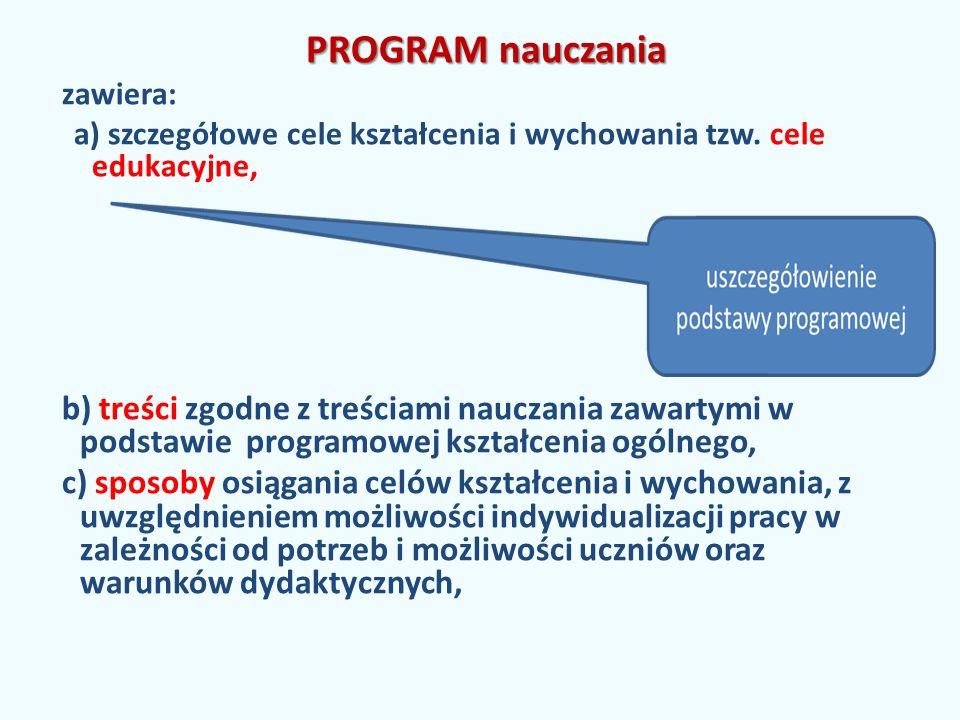 PROGRAM nauczania zawiera: a) szczegółowe cele kształcenia i wychowania tzw.