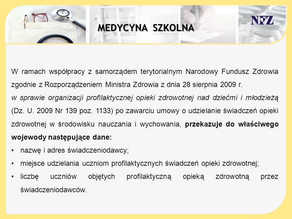 W ramach współpracy z samorządem terytorialnym Narodowy Fundusz Zdrowia zgodnie z Rozporządzeniem Ministra Zdrowia z dnia 28 sierpnia 2009 r. w sprawi