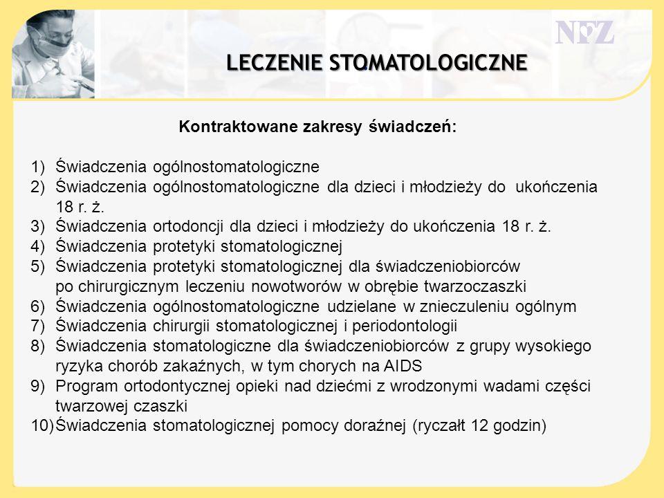 . Kontraktowane zakresy świadczeń: 1)Świadczenia ogólnostomatologiczne 2)Świadczenia ogólnostomatologiczne dla dzieci i młodzieży do ukończenia 18 r.