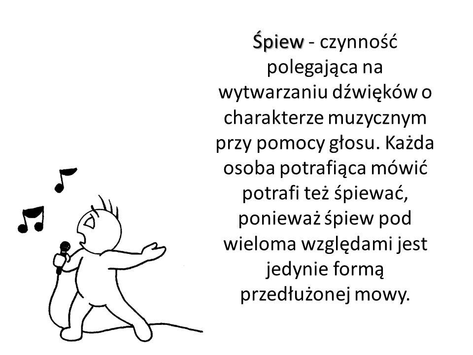Rodzaje śpiewu Wyróżnia się śpiew utworów muzycznych z tekstem - śpiew sylabiczny, melizmatyczny - oraz pozbawiony cech mowy - wokaliza.