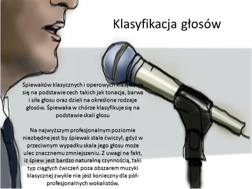 Klasyfikacja głosów Śpiewaków klasycznych i operowych klasyfikuje się na podstawie cech takich jak tonacja, barwa i siła głosu oraz dzieli na określon