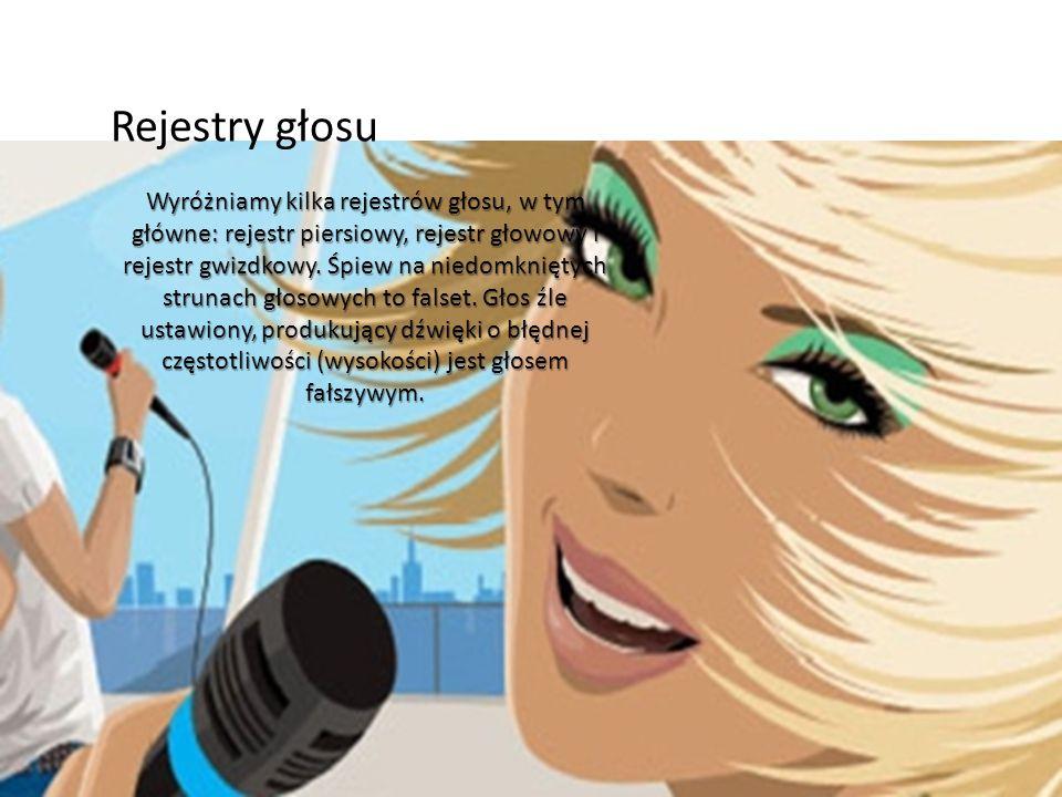 Rejestry głosu Wyróżniamy kilka rejestrów głosu, w tym główne: rejestr piersiowy, rejestr głowowy i rejestr gwizdkowy. Śpiew na niedomkniętych strunac