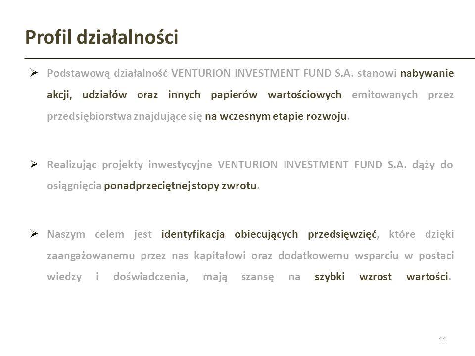 Profil działalności Podstawową działalność VENTURION INVESTMENT FUND S.A. stanowi nabywanie akcji, udziałów oraz innych papierów wartościowych emitowa