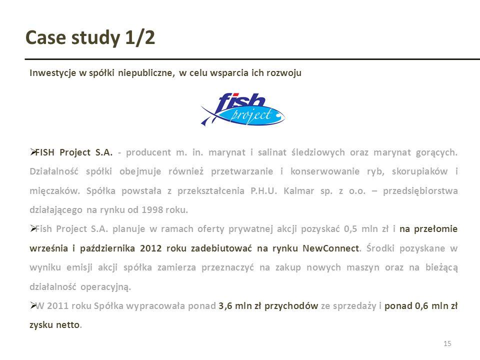 Case study 1/2 Inwestycje w spółki niepubliczne, w celu wsparcia ich rozwoju 15 FISH Project S.A. - producent m. in. marynat i salinat śledziowych ora