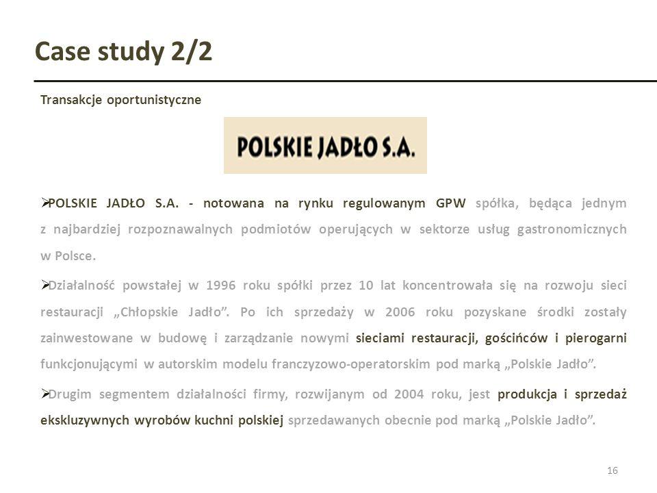 Case study 2/2 Transakcje oportunistyczne 16 POLSKIE JADŁO S.A. - notowana na rynku regulowanym GPW spółka, będąca jednym z najbardziej rozpoznawalnyc