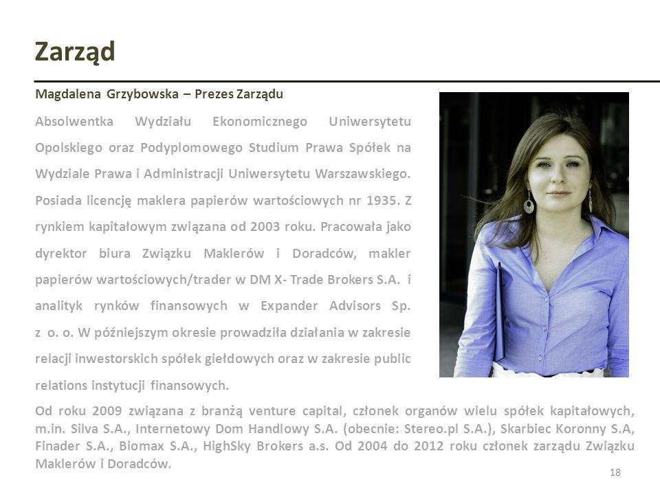 Zarząd 18 Magdalena Grzybowska – Prezes Zarządu Absolwentka Wydziału Ekonomicznego Uniwersytetu Opolskiego oraz Podyplomowego Studium Prawa Spółek na