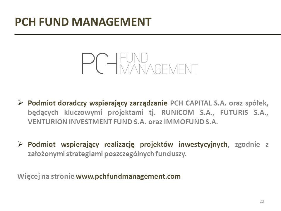 PCH FUND MANAGEMENT 22 Podmiot doradczy wspierający zarządzanie PCH CAPITAL S.A. oraz spółek, będących kluczowymi projektami tj. RUNICOM S.A., FUTURIS