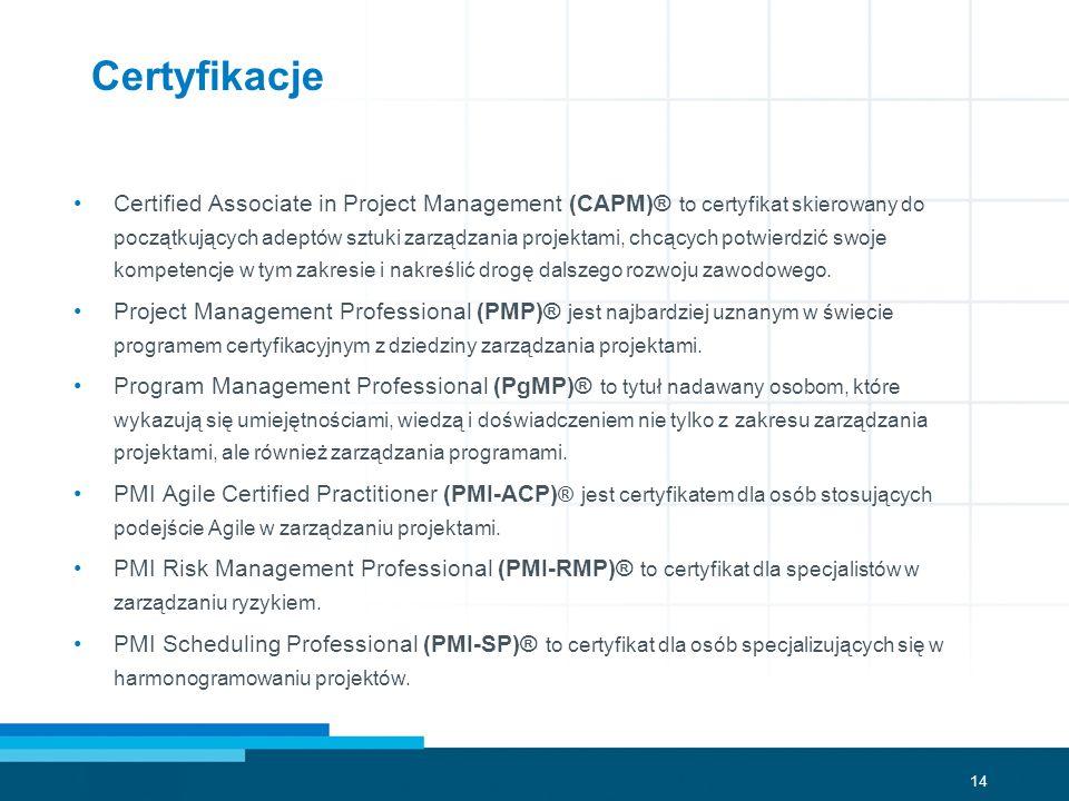14 Certyfikacje Certified Associate in Project Management (CAPM)® to certyfikat skierowany do początkujących adeptów sztuki zarządzania projektami, ch