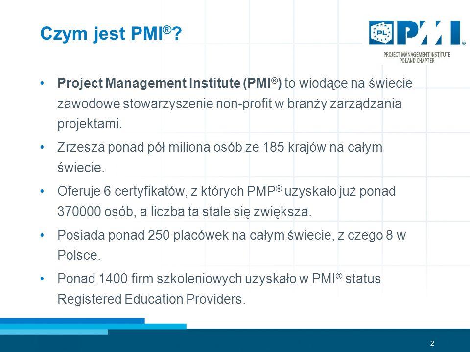 2 Czym jest PMI ® ? Project Management Institute (PMI ® ) to wiodące na świecie zawodowe stowarzyszenie non-profit w branży zarządzania projektami. Zr
