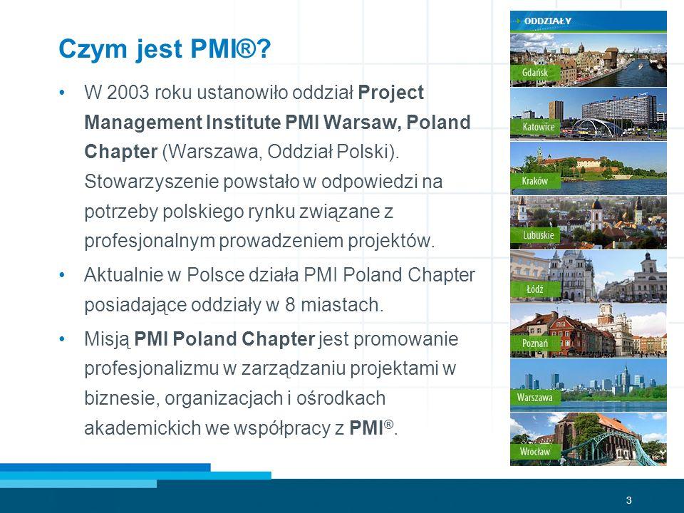 3 Czym jest PMI®? W 2003 roku ustanowiło oddział Project Management Institute PMI Warsaw, Poland Chapter (Warszawa, Oddział Polski). Stowarzyszenie po