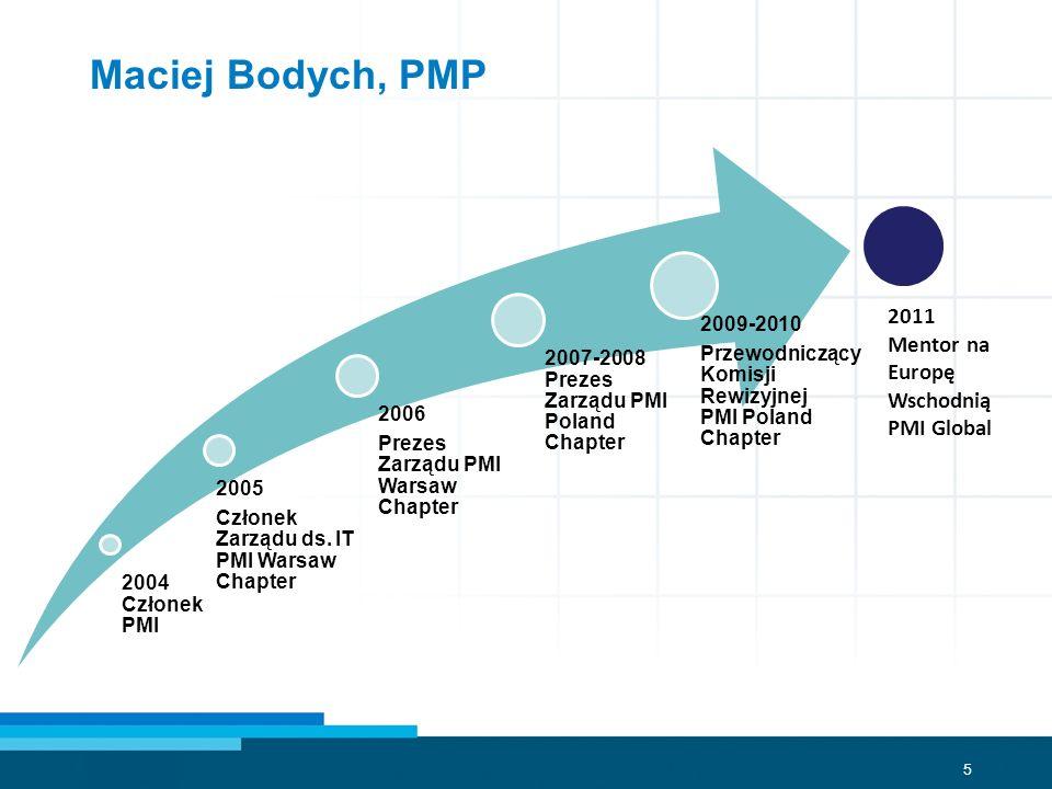 5 Maciej Bodych, PMP 2004 Członek PMI 2005 Członek Zarządu ds. IT PMI Warsaw Chapter 2006 Prezes Zarządu PMI Warsaw Chapter 2007-2008 Prezes Zarządu P